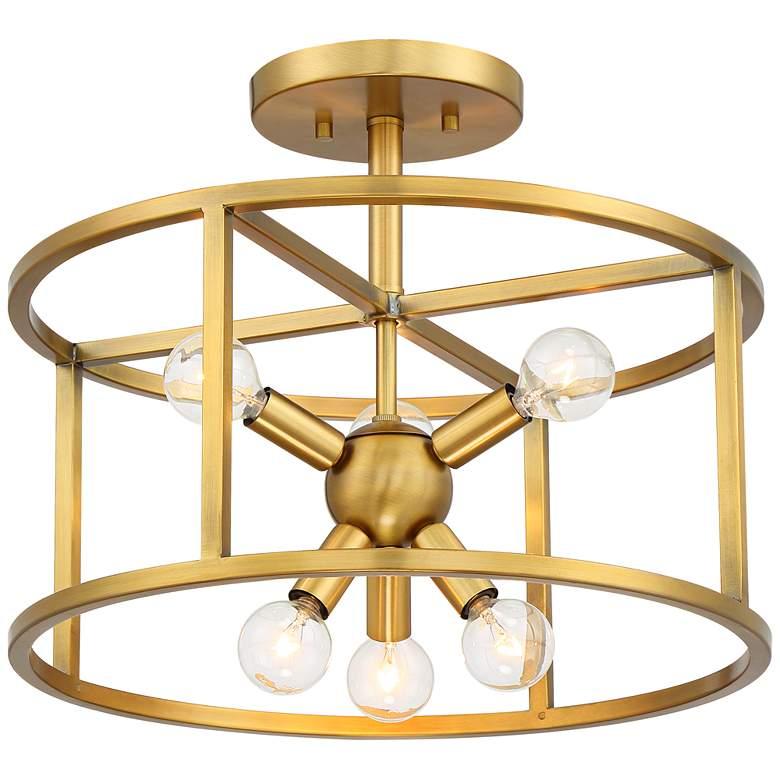"Possini Euro Clarice 16"" Wide Warm Brass Ceiling Light"