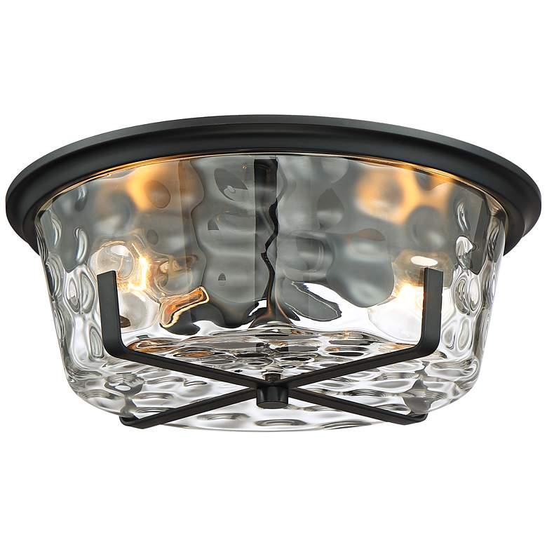 "Possini Euro Beston 13 1/4""W Hammered Glass Ceiling Light"