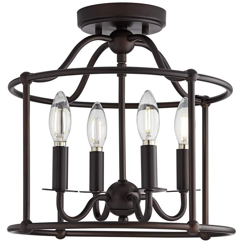 "Fairley 13 1/4"" Wide 4-Light Bronze Open Cage Ceiling Light"