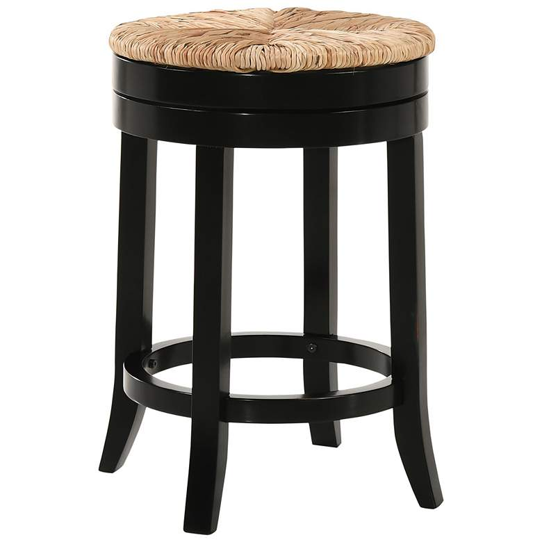 """Irving 24"""" Antique Black Wood and Rush Swivel Counter Stool"""