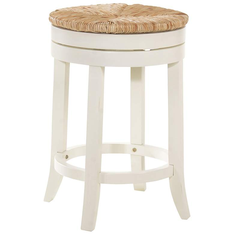 """Irving 24"""" Antique White Wood and Rush Swivel Counter Stool"""