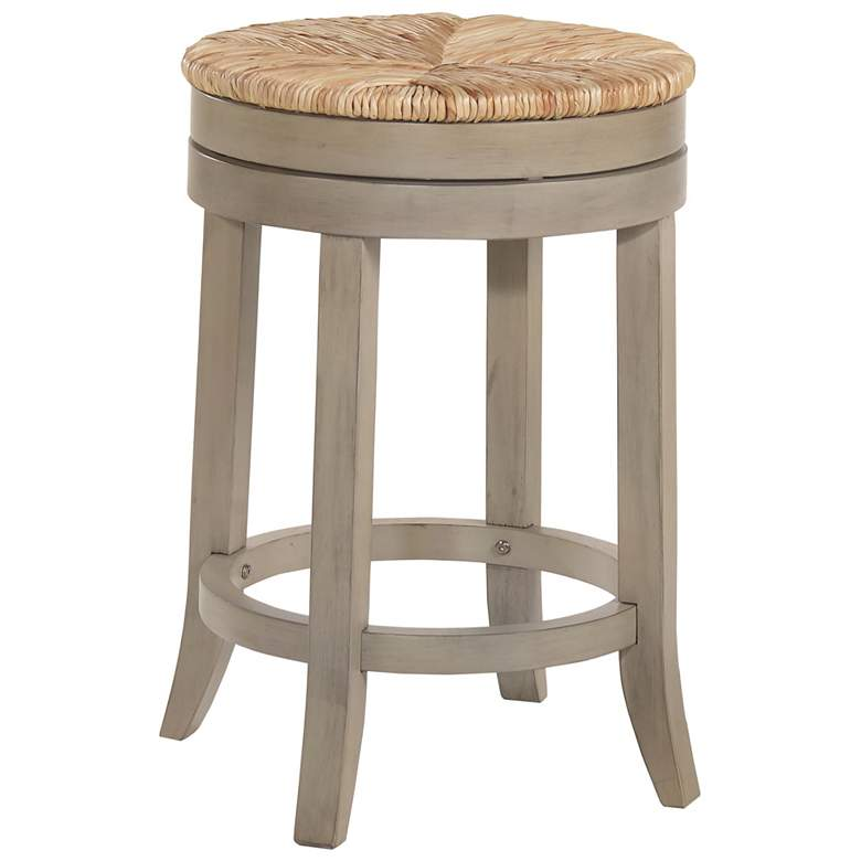 """Irving 24"""" Weathered Gray Wood and Rush Swivel Counter Stool"""
