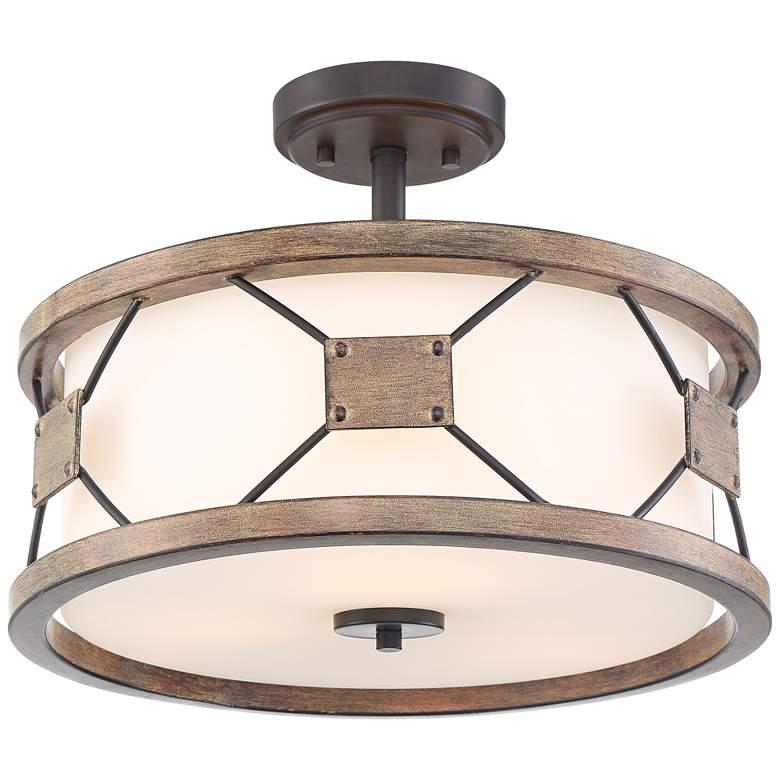 "Possini Euro Gracemont 16"" Wide Wood Grain Ceiling Light"