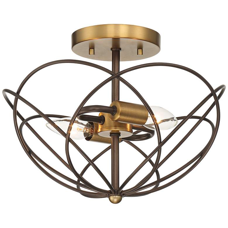 "Hexley 13"" Wide Bronze and Warm Brass Wired Ceiling Light"