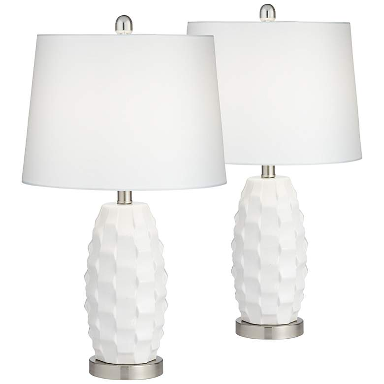 Scalloped Ceramic LED Table Lamps with Dimmers Set of 2