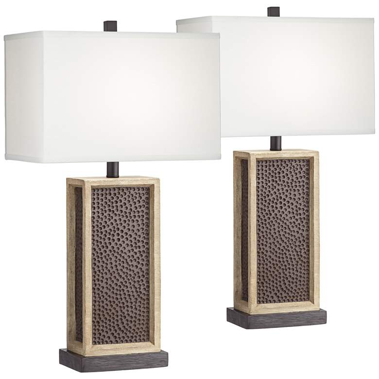 Leandro Rustic Column LED Table Lamps with Dimmers Set of 2