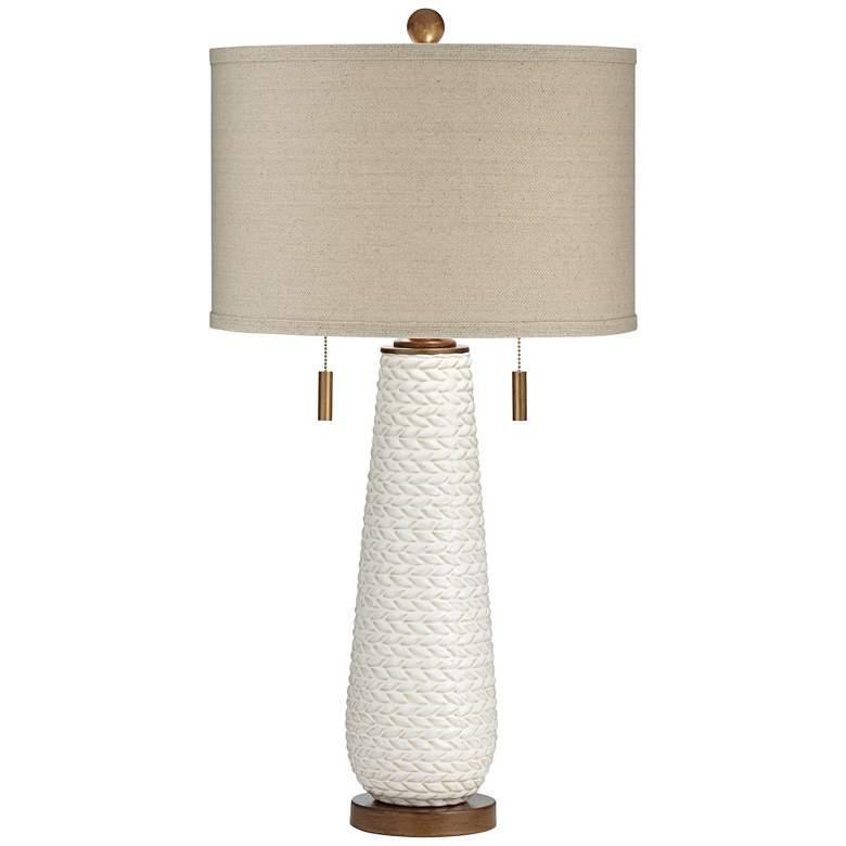 Possini Euro Kingston White Ceramic Pull Chain Table Lamp