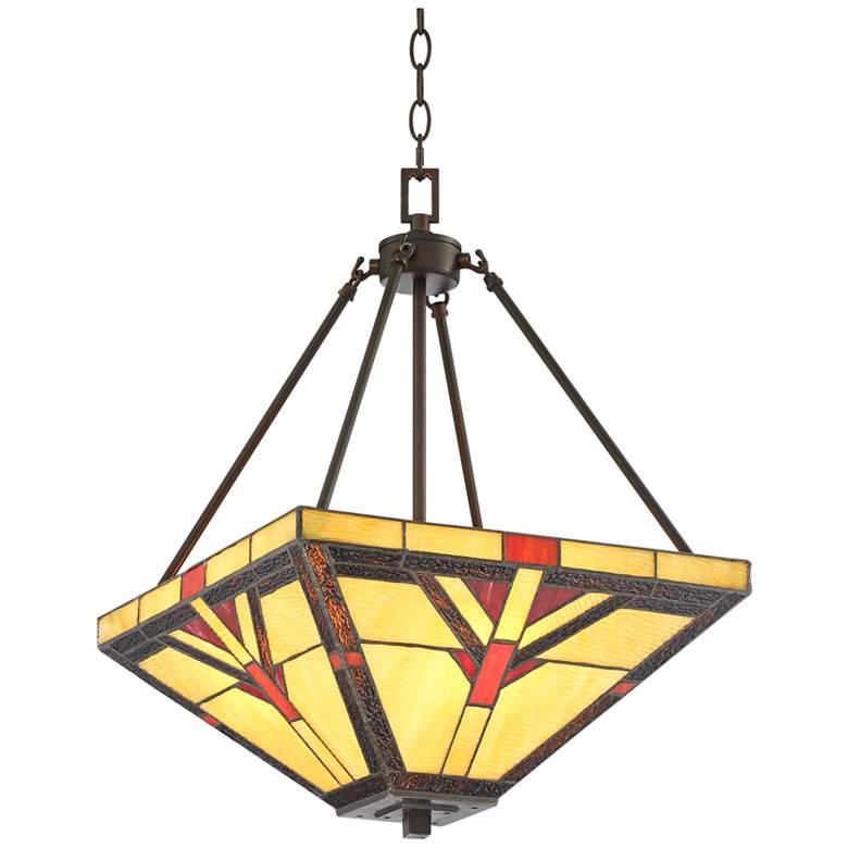 """Robert Louis Tiffany Cascade 16"""" Wide Glass 3-Light Pendant"""