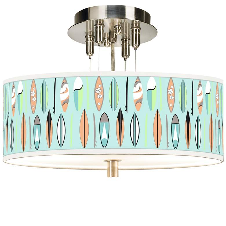 "Retro Surf Giclee 14"" Wide Ceiling Light"