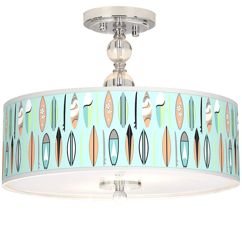 "Retro Surf Giclee 16"" Wide Semi-Flush Ceiling Light"