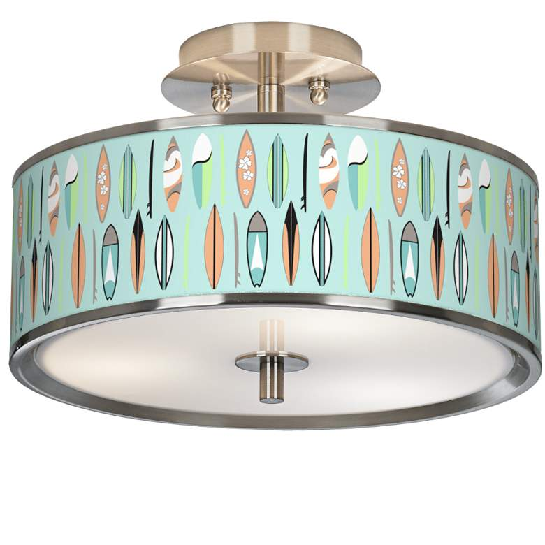 "Retro Surf Giclee Glow 14"" Wide Ceiling Light"
