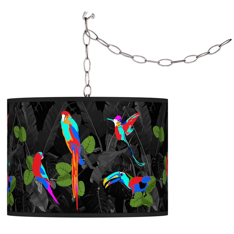 Swag Style Paradiso Giclee Shade Plug-In Chandelier