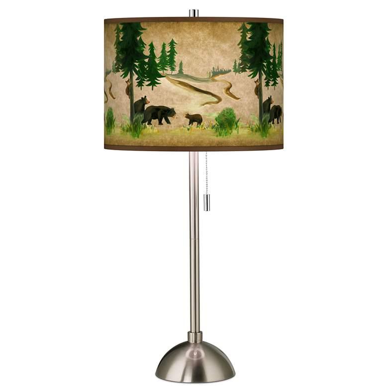 Bear Lodge Giclee Brushed Nickel Table Lamp