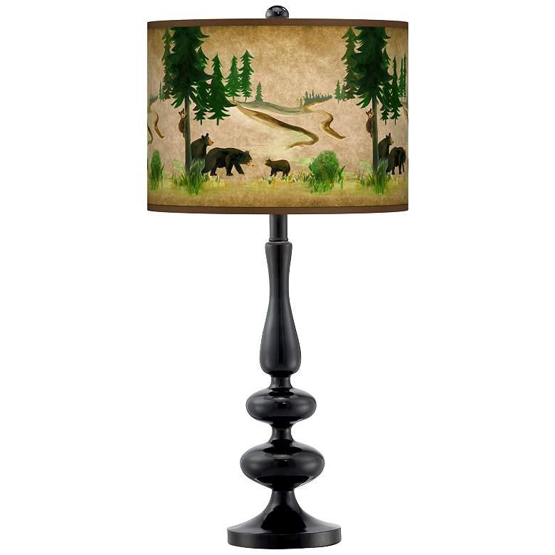 Bear Lodge Giclee Paley Black Table Lamp