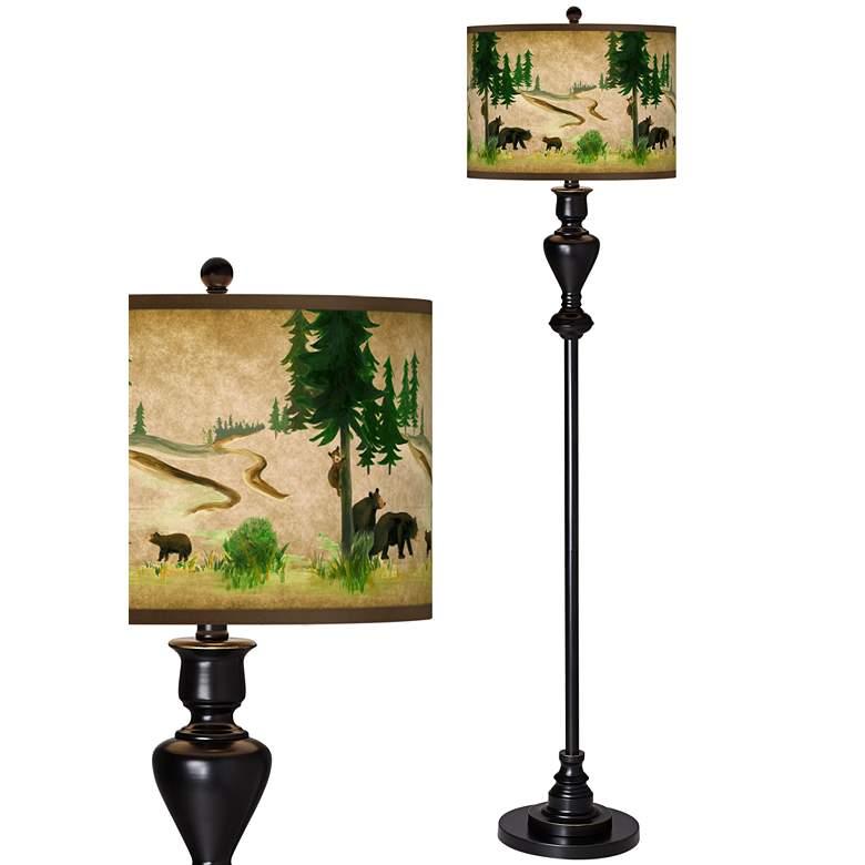 Bear Lodge Giclee Glow Black Bronze Floor Lamp