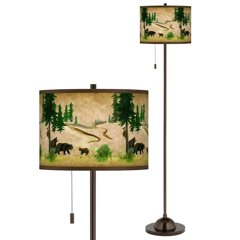 Bear Lodge Giclee Glow Bronze Club Floor Lamp