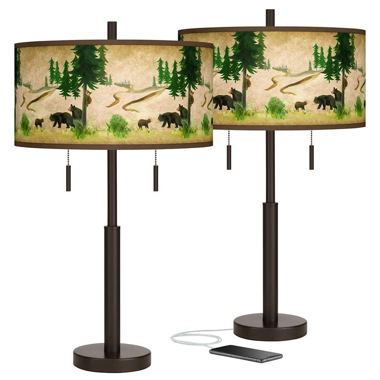 Bear Lodge Robbie Bronze USB Table Lamps Set of 2