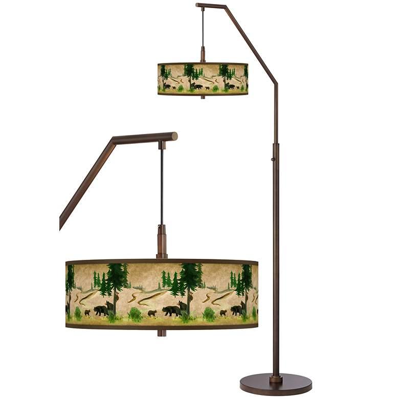 Bear Lodge Bronze Downbridge Arc Floor Lamp