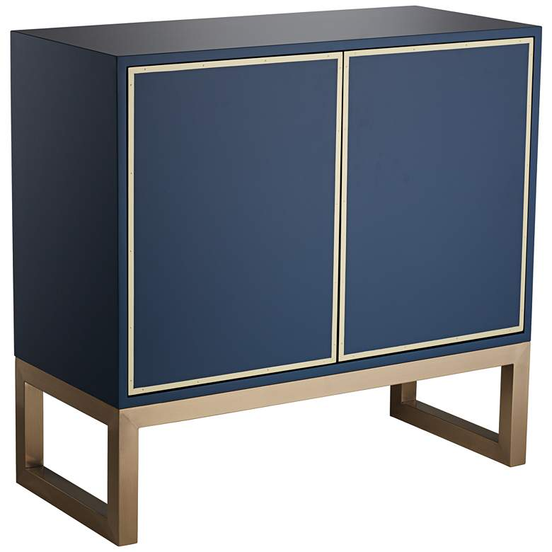 """Tarim 35 3/4"""" Wide Blue and Gold 2-Door Accent Cabinet"""
