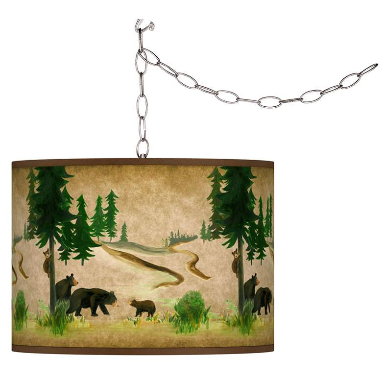 Swag Style Bear Lodge Giclee Shade Plug-In Chandelier