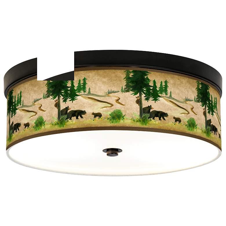 Bear Lodge Giclee Energy Efficient Bronze Ceiling Light
