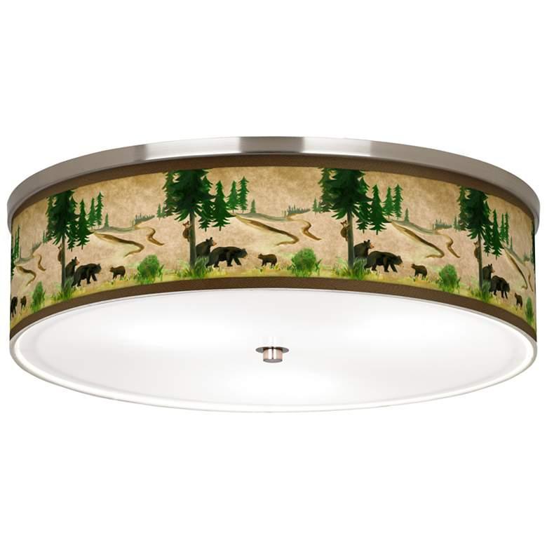 "Bear Lodge Giclee Nickel 20 1/4"" Wide Ceiling Light"