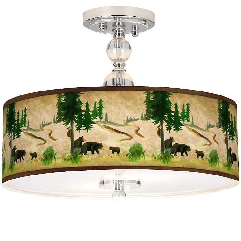 "Bear Lodge Giclee 16"" Wide Semi-Flush Ceiling Light"