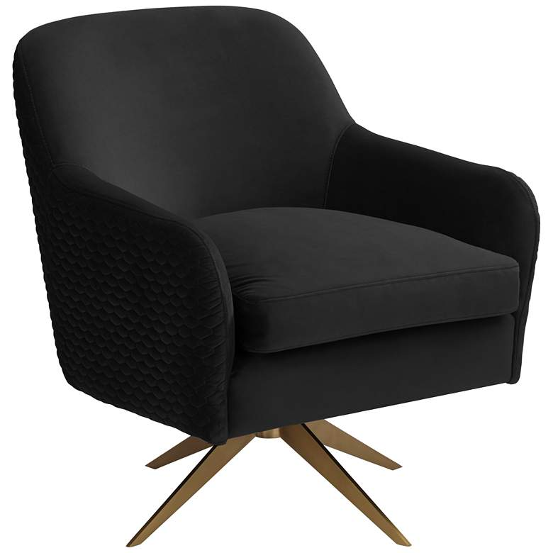 Ames Quilted Onyx Velvet Swivel Chair