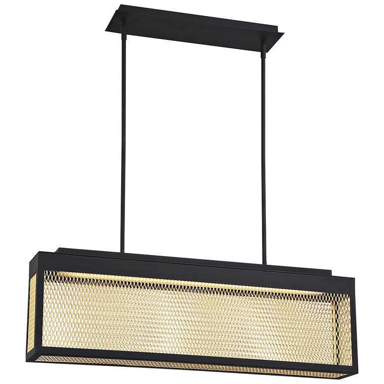"""Coop 36""""W Black and Gold LED Kitchen Island Light Pendant"""