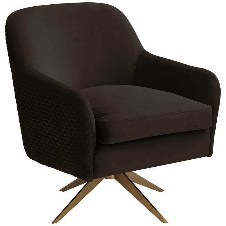 Ames Quilted Espresso Velvet Swivel Chair