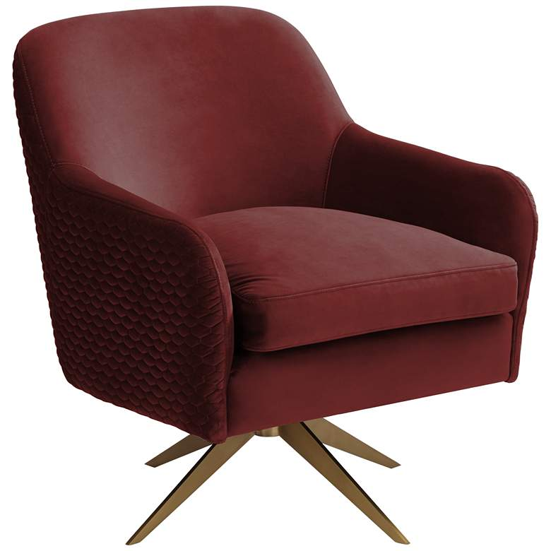 Ames Quilted Wine Velvet Swivel Chair
