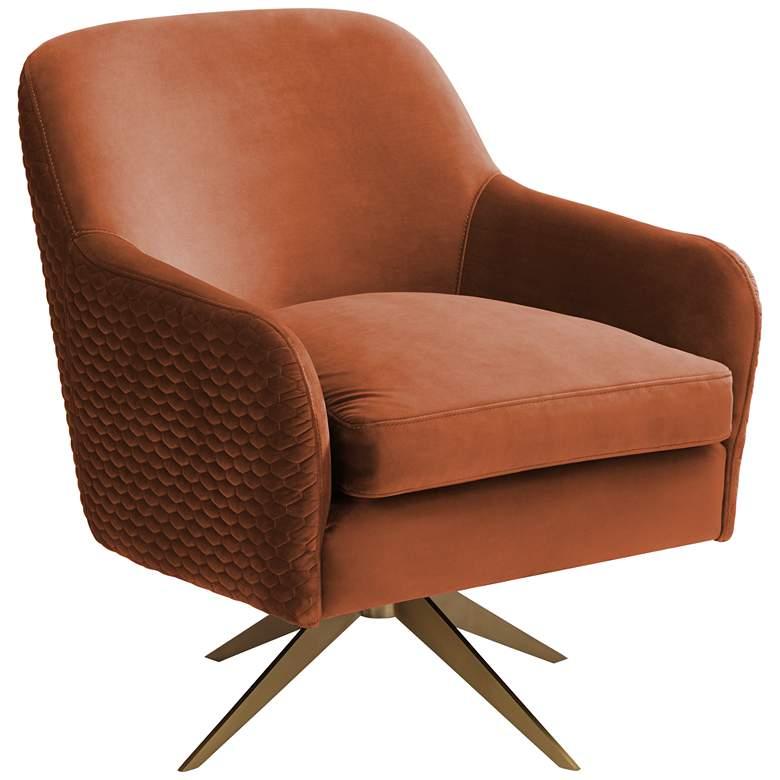 Ames Quilted Pumpkin Velvet Swivel Chair
