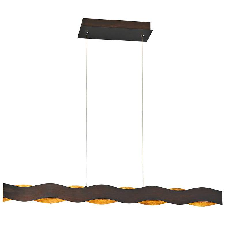 "Ripple 37""W Bronze and Gold LED Kitchen Island Light Pendant"