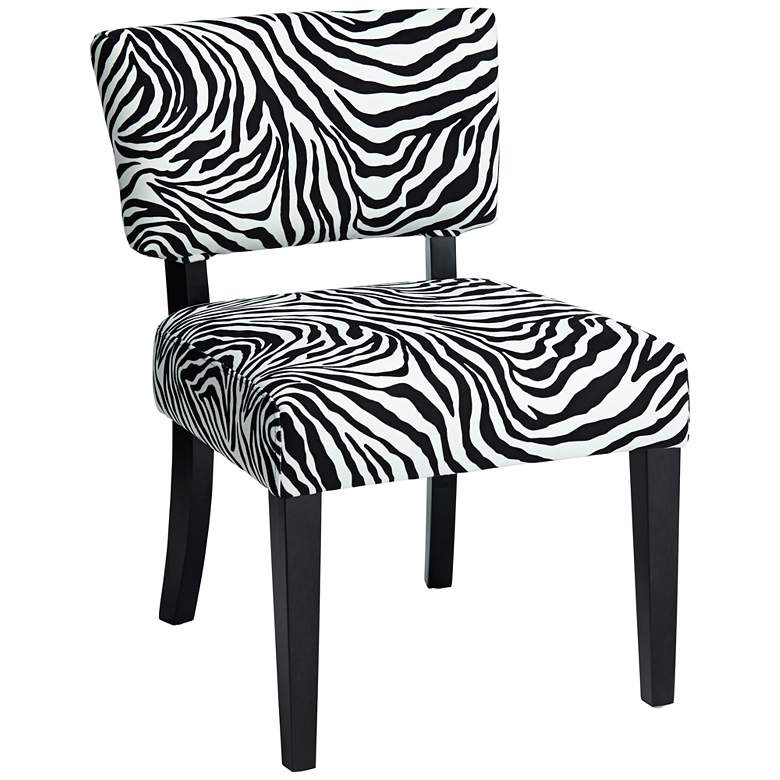 Zambia Zebra Print Accent Chair with Velvet Fabric