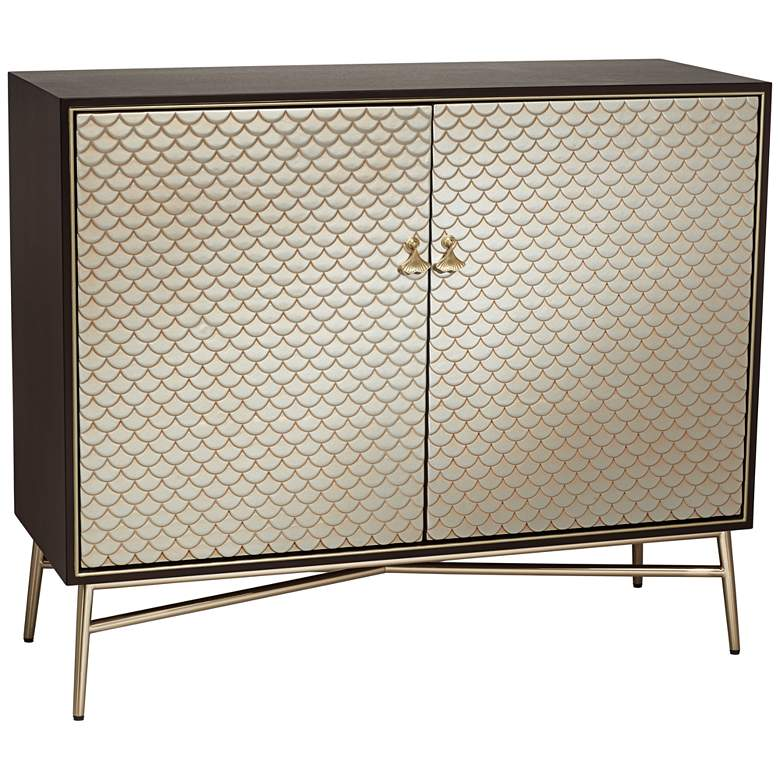 """Auric 45 3/4"""" Wide Mahogany and Brass Modern Cabinet"""