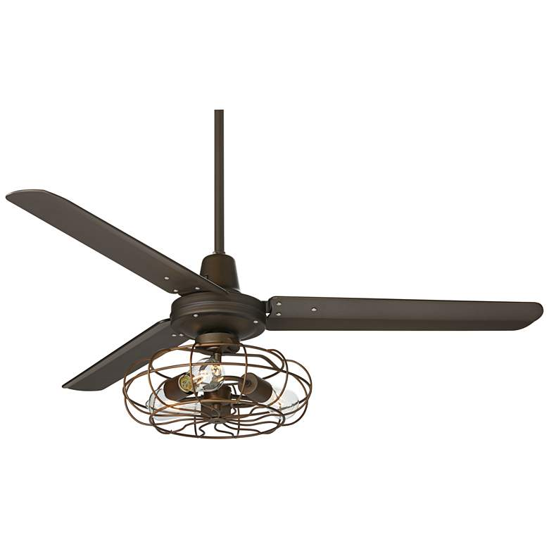 """52"""" Plaza DC Bronze Ceiling Fan with Vintage Cage LED Kit"""