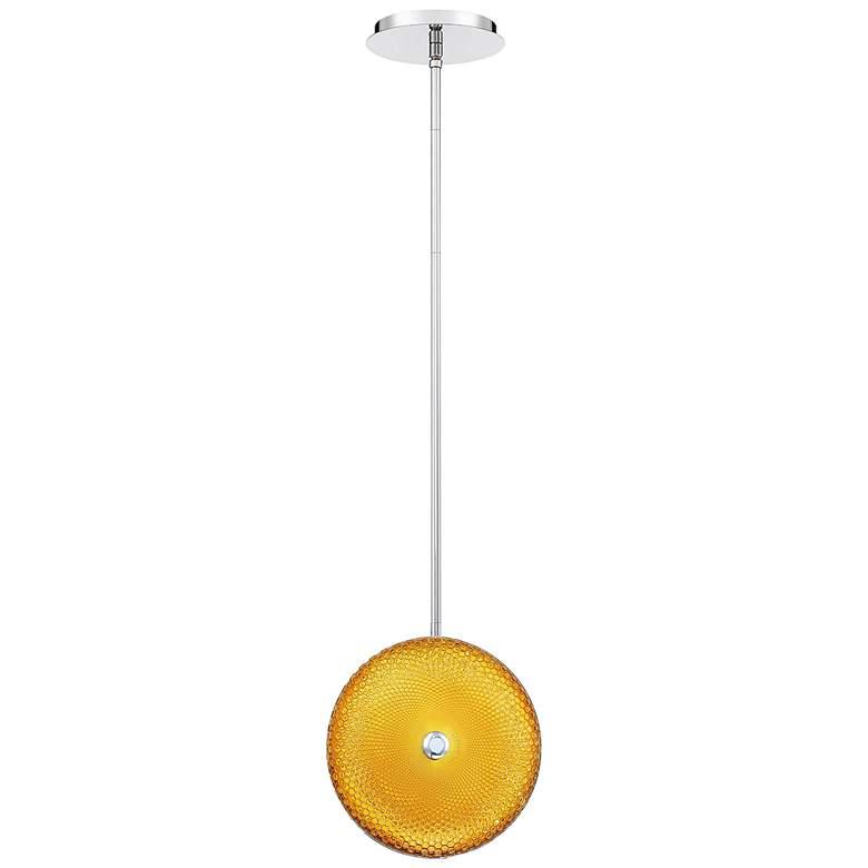 "Caledonia 10""W Yellow Honeycomb Glass LED Mini Pendant Light"