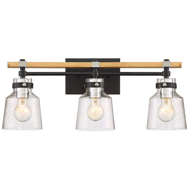 """Broadway 23"""" Wide Black and Painted Wood 3-Light Bath Light"""