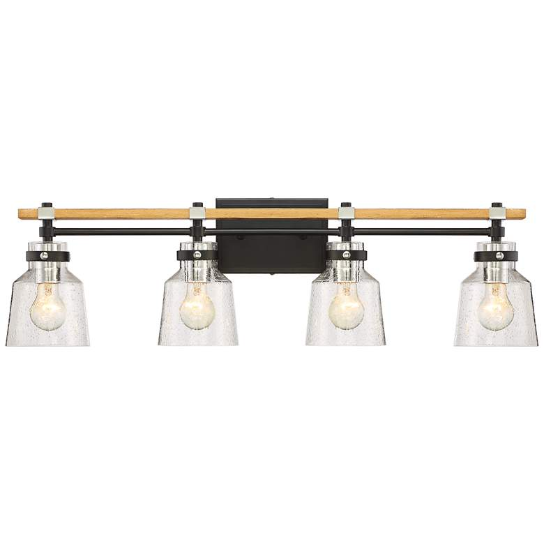 """Broadway 32"""" Wide Black and Painted Wood 4-Light Bath Light"""