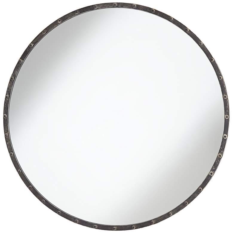 "Uttermost Wynn 34"" Round Aged Steel Studded Wall Mirror"