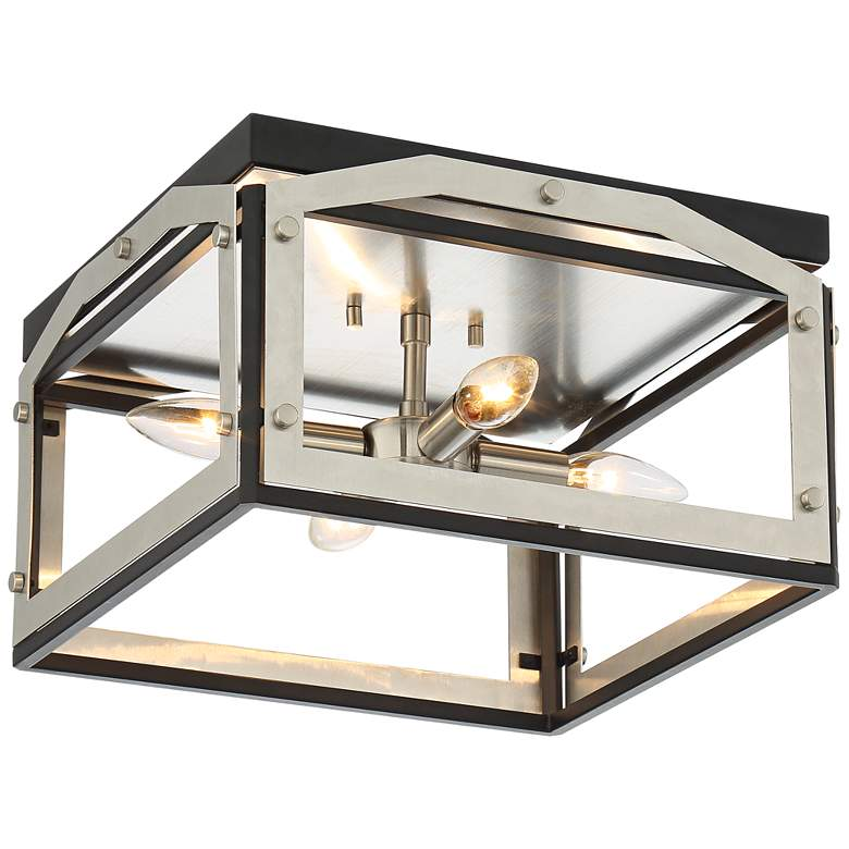 "Zen 13"" Wide Black and Brushed Nickel 4-Light Ceiling Light"
