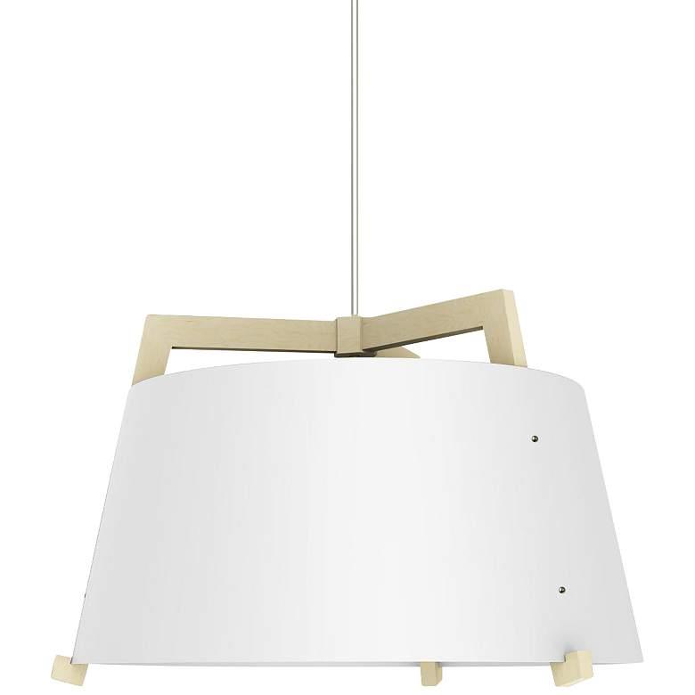 """Ignis 24""""W White Washed Oak w/ Gloss White LED Pendant Light"""
