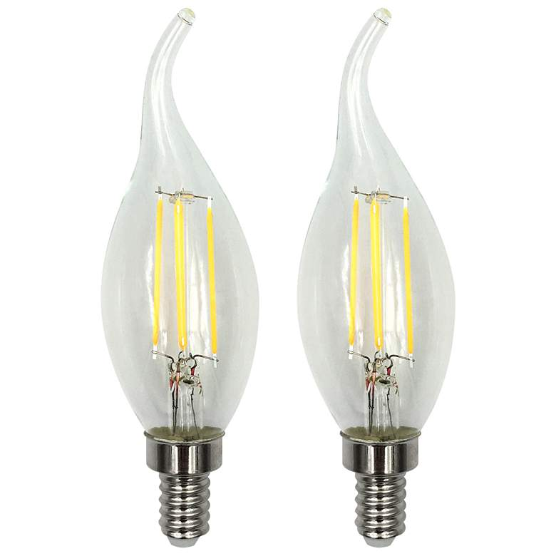 40W Equivalent Clear 4W LED Dimmable Flame-Tip E12 Set of 2