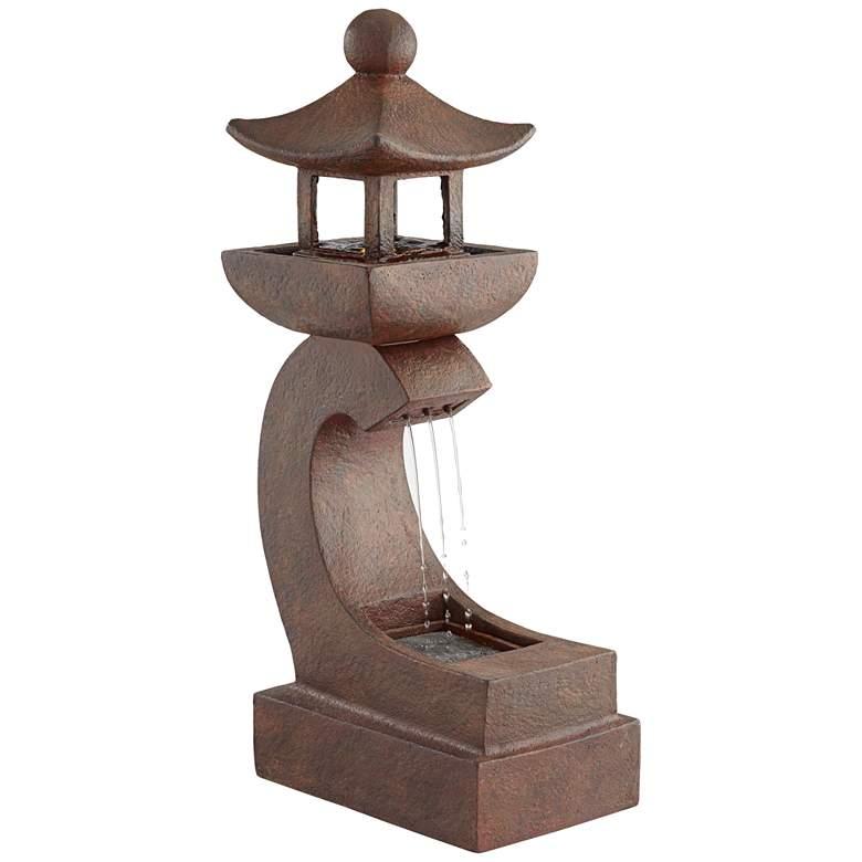 "Garden Pagoda 31"" High Rust LED Lighted Outdoor Fountain"