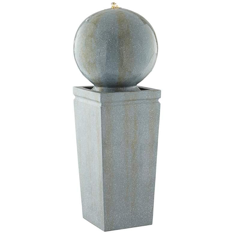 "Ball and Pillar 34 1/4"" High LED Bubbler Fountain"