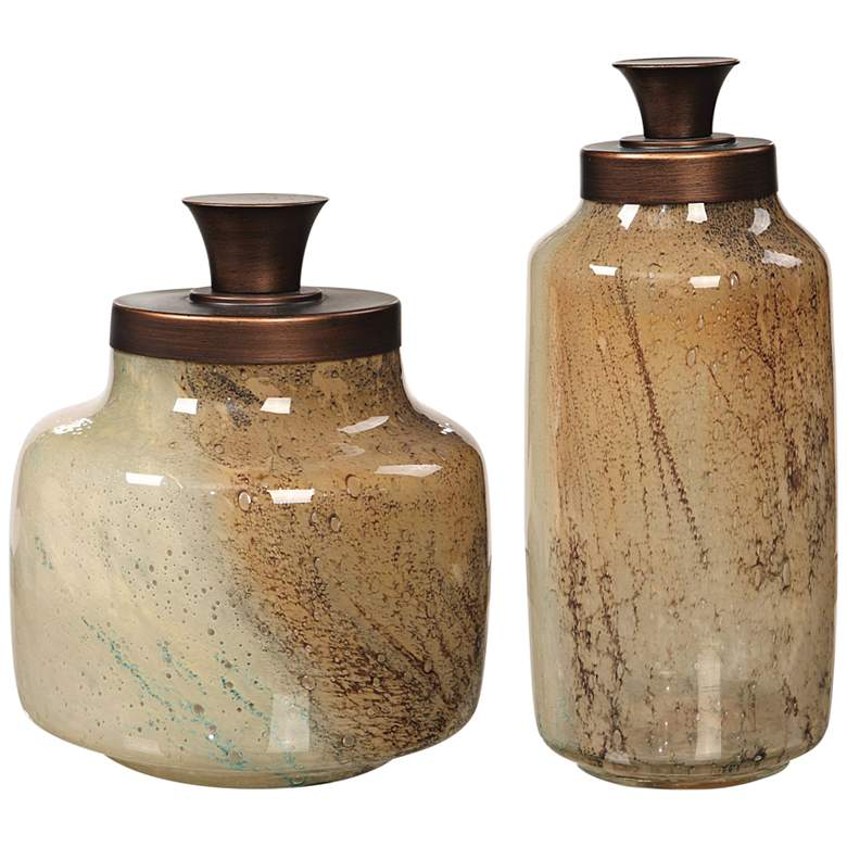 Uttermost Elia Tan and Brown Containers Set of 2