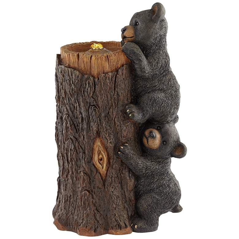 "Bears on Log 28 1/2"" High Rustic LED Bubbler Fountain"