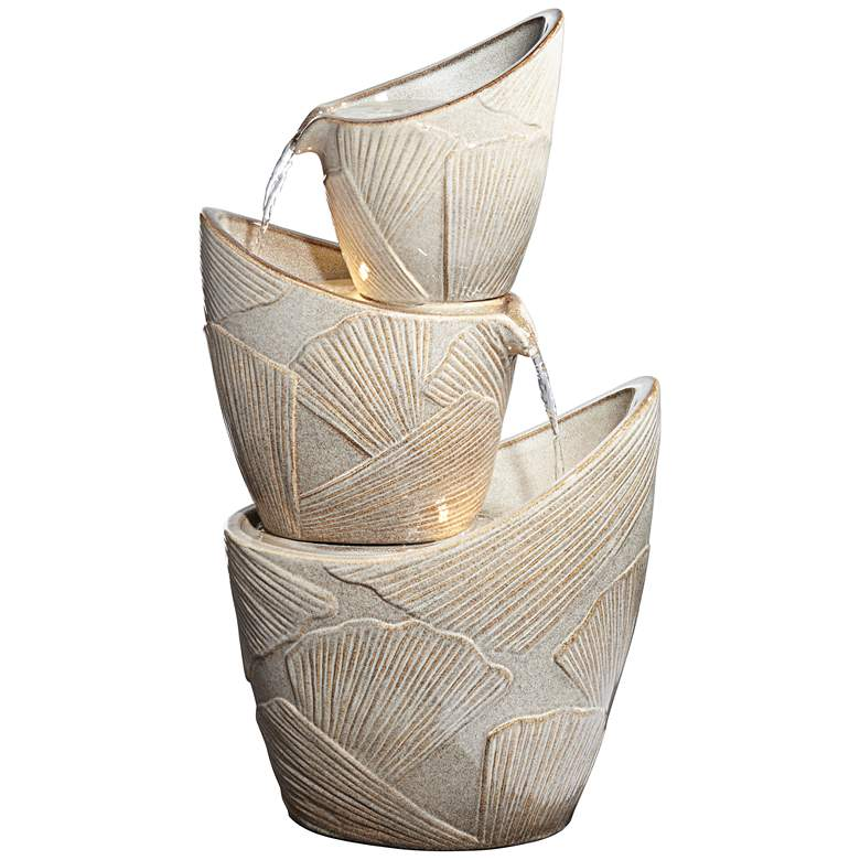 """Three Urn with Leaves 30"""" High LED Cascading Floor Fountain"""