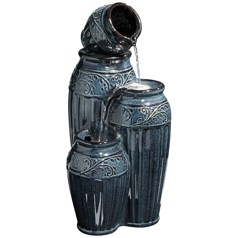 """Four Blue Urns 27"""" High Ceramic LED Cascading Floor Fountain"""