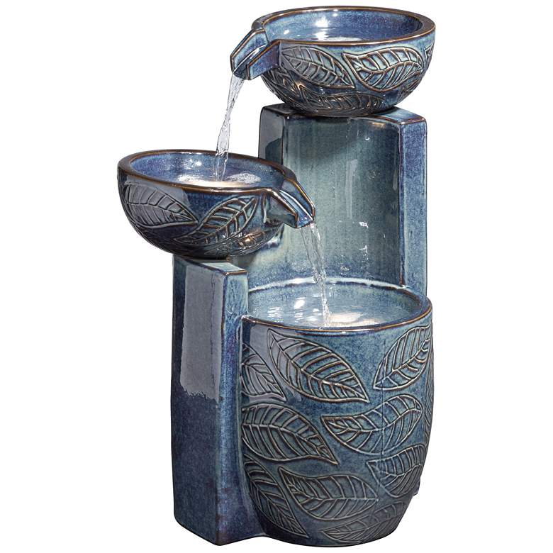 "Summer Leaves 26"" High Ceramic Fountain with LED Lights"